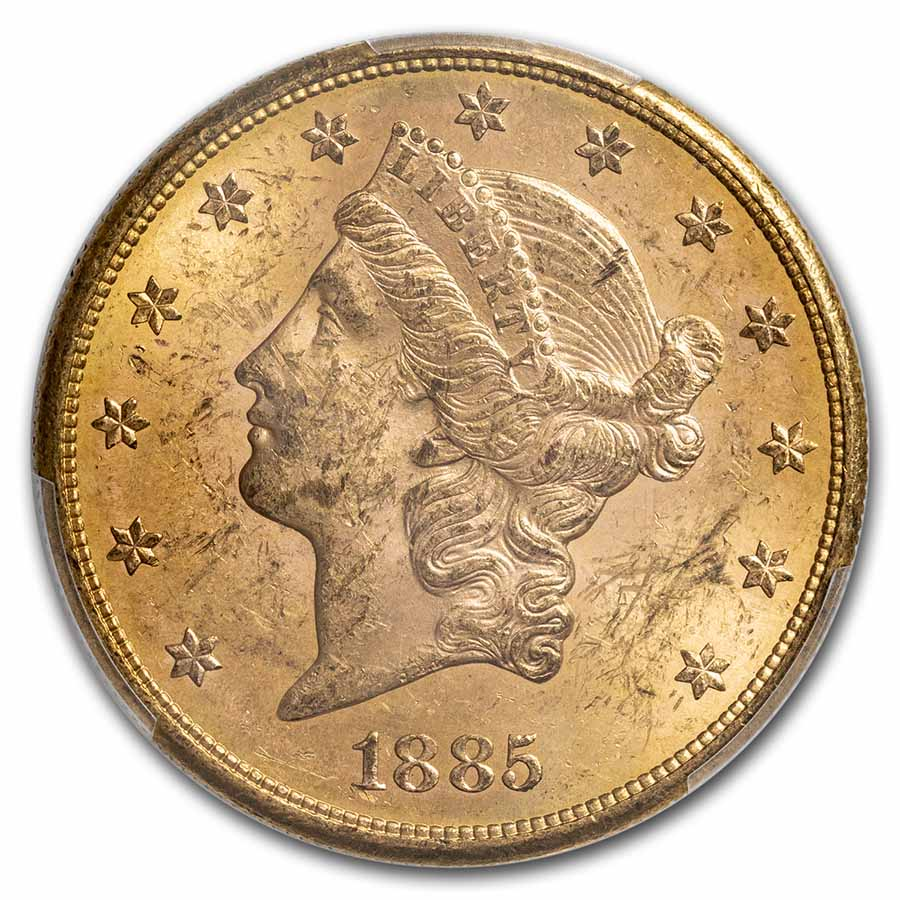 1885-S $20 Gold Liberty Double Eagle MS-61 PCGS