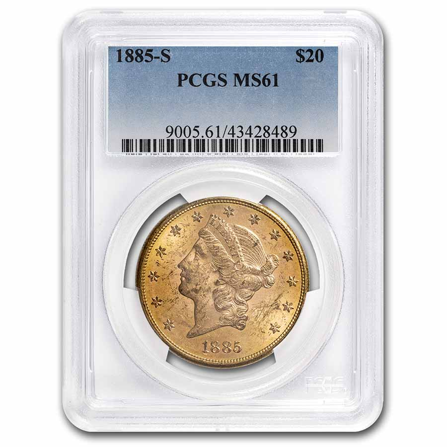 1885-S $20 Gold Liberty Double Eagle - MS-61 PCGS