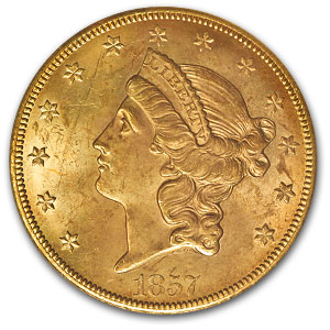 1857-S $20 Lib Gold SS Central America 20B MS-62 PCGS (Bold S)