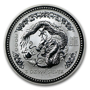 2000 2 oz Silver Lunar Year of the Dragon (SI) (Light Abrasions)