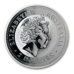 2000 2 oz Silver Lunar Year of the Dragon SI (Light Abrasions)