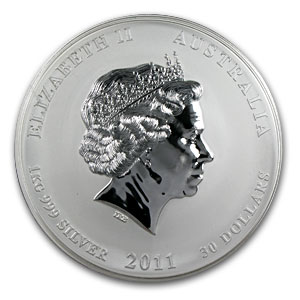 2011 Year of the Rabbit Gemstone Eye - 1 Kilo Silver Coin (SII)