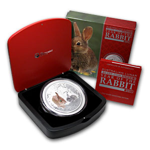 2011 Australia 1 kilo Silver Year of the Rabbit Gemstone Eye BU