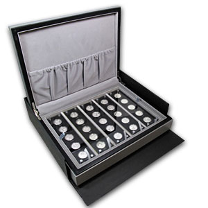 2007 China 25-Coin Silver 25th Anniv Panda Proof Set (Box dmgd)