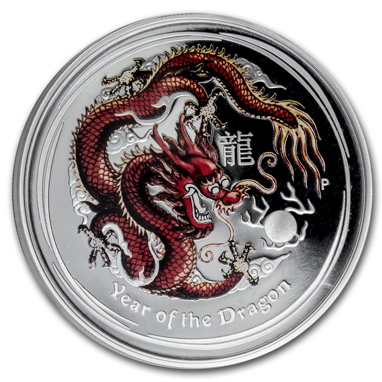 2012 Australia 1 oz Silver Year of the Dragon Proof (Colorized)