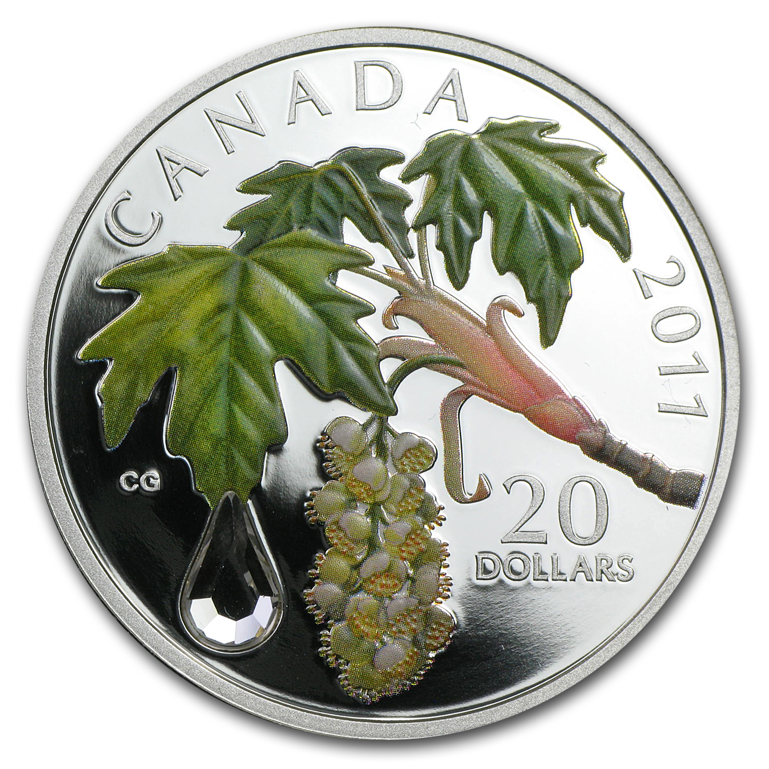 2011 1 oz Silver Canadian $20 Maple Leaf Crystal Raindrop