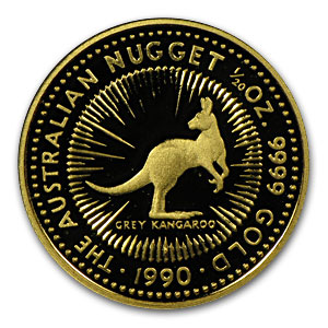 1990 Australia 1/20 oz Proof Gold Nugget