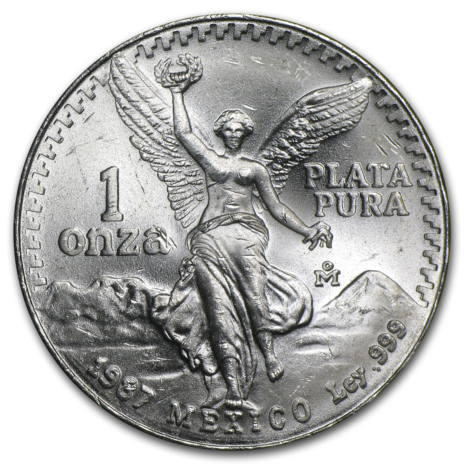 1987 Mexico 1 oz Silver Libertad (Double Die)