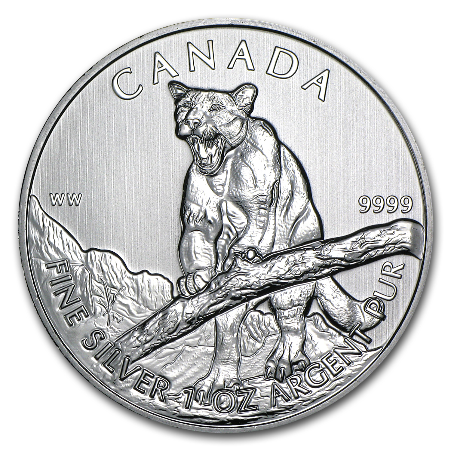 2012 1 oz Silver Canadian Wildlife Series Cougar