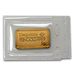 5 gram Gold Bar - Degussa (Pressed)