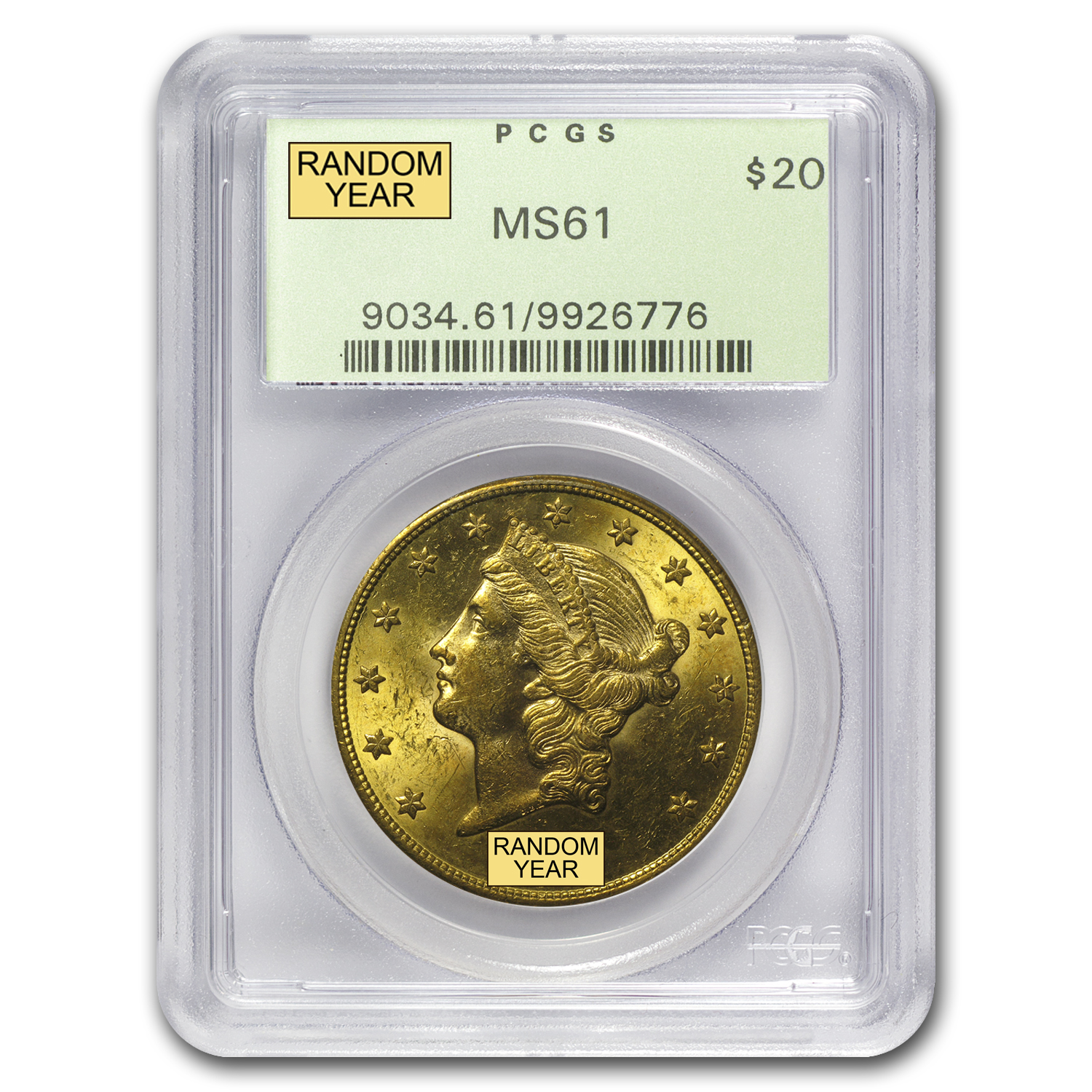 $20 Gold Liberty Double Eagle MS-61 PCGS (1800s S-Mint)