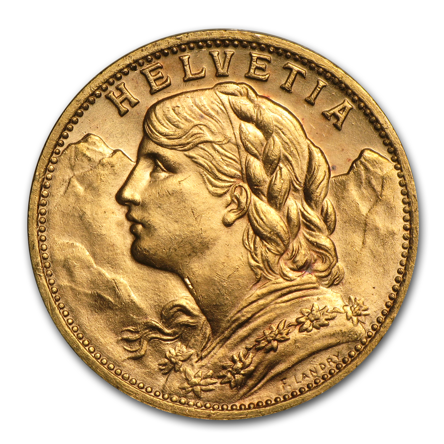 Switzerland 1935-B Gold 20 Francs (Almost Uncirculated)