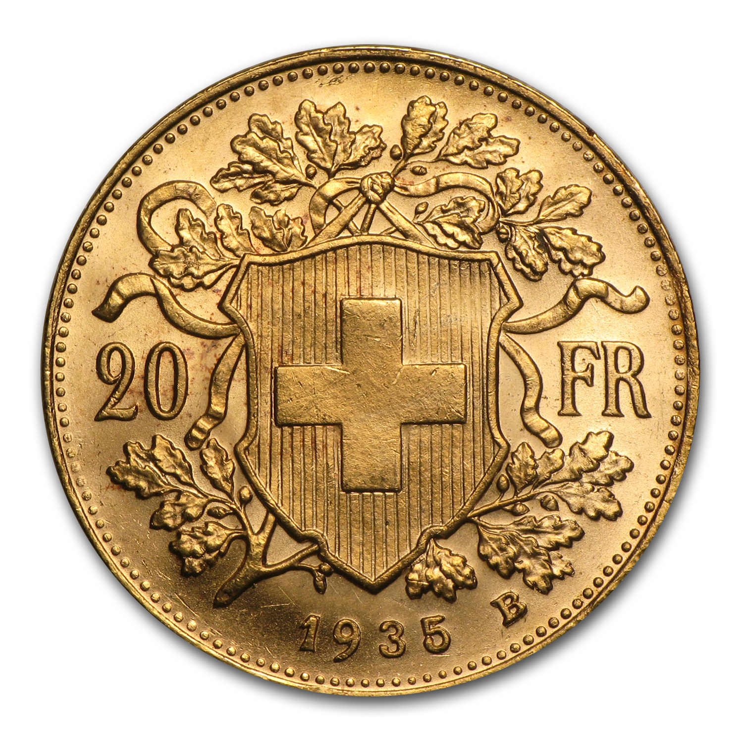 1935-B Switzerland Gold 20 Francs Helvetia AU