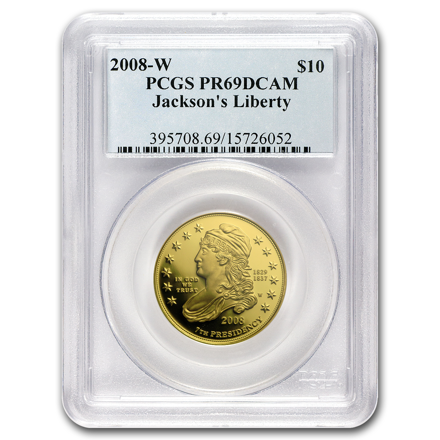 2008-W 1/2 oz Proof Gold Jackson's Liberty PR-69 DCAM PCGS
