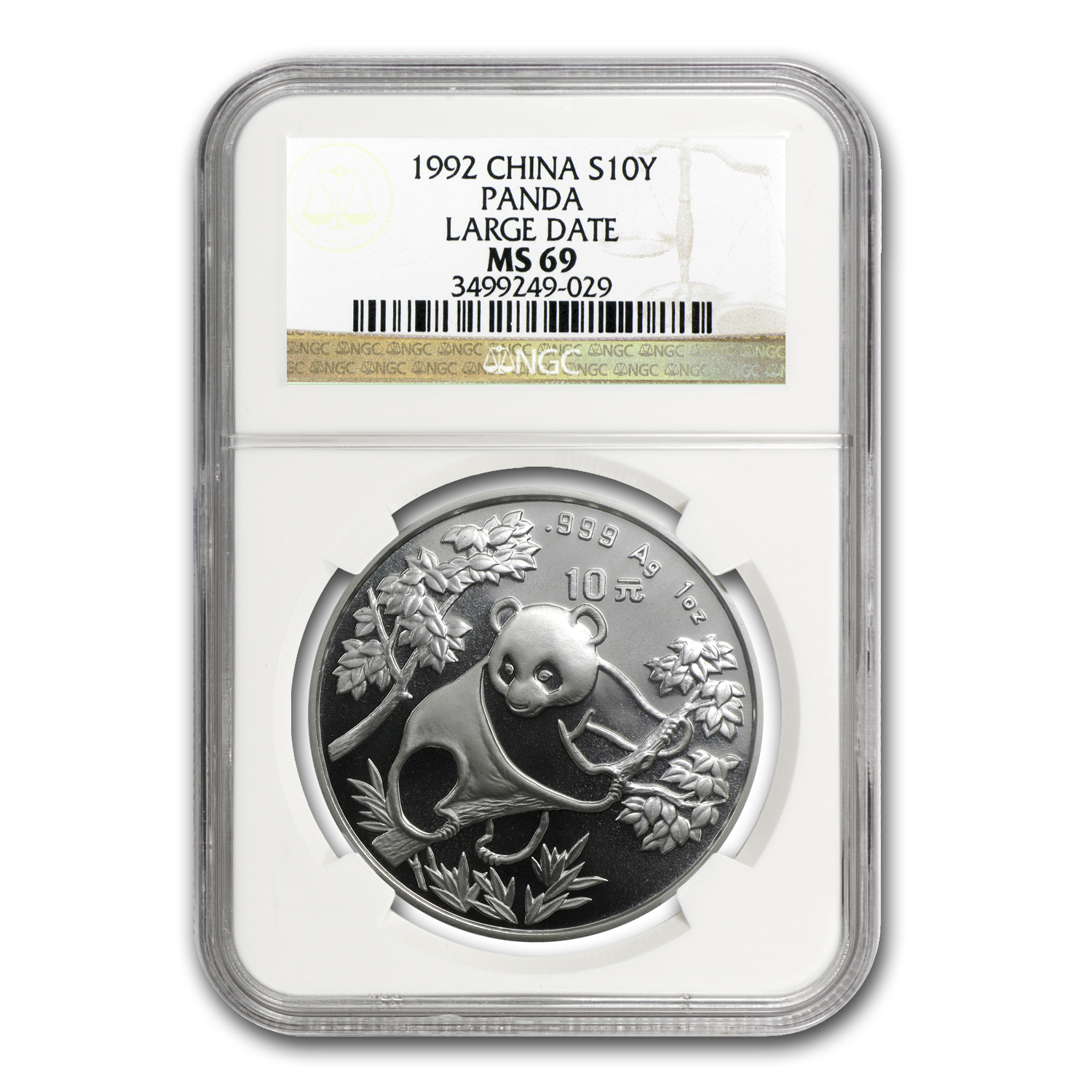 1992 China 1 oz Silver Panda MS-69 NGC (Large Date)