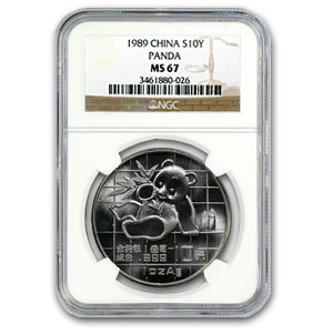 1989 China 1 oz Silver Panda MS-67 NGC
