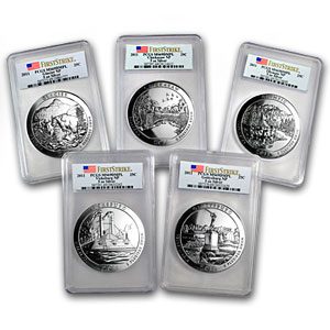 2011 5-Coin 5 oz Silver ATB Set MS-69 DMPL PCGS (First Strike)