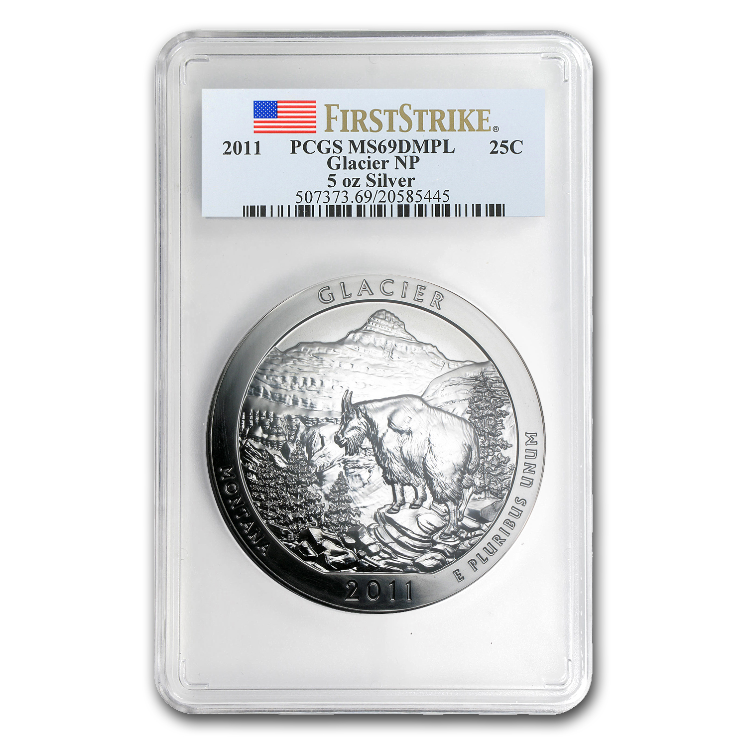 2011 5 oz Silver ATB Glacier MS-69 DMPL PCGS (First Strike)