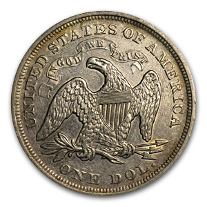 1872 Liberty Seated Dollar AU Details (Cleaned)