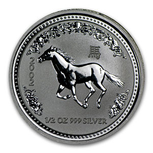 2002 1/2 oz Silver Lunar Year of the Horse SI (Light Abrasions)