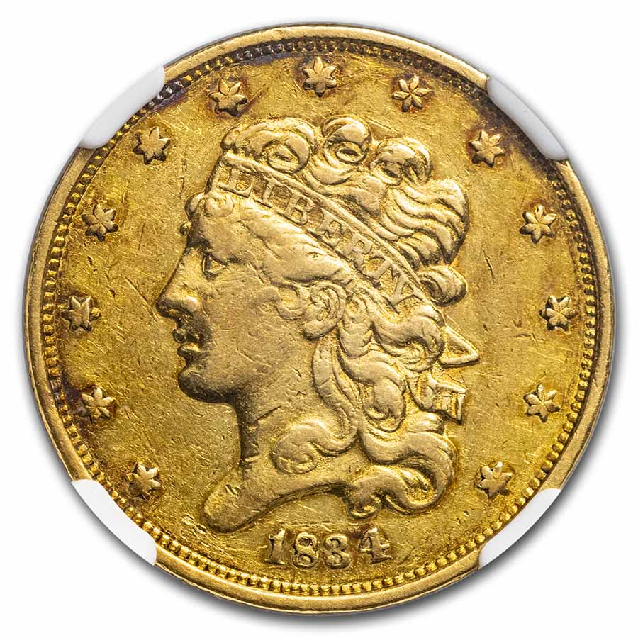 1834 $5 Gold Classic Head Half Eagle Plain 4 AU-55 NGC
