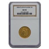 1834 $5 Gold Classic Head Half Eagle Plain 4 AU-55 NGC