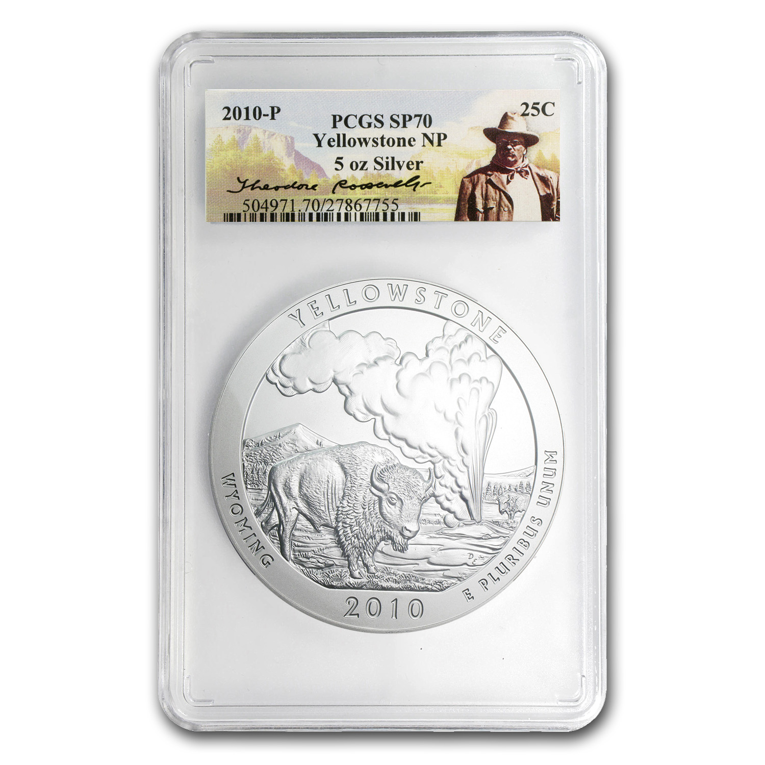 2010-P 5 oz Silver ATB Yellowstone SP-70 PCGS (Roosevelt)