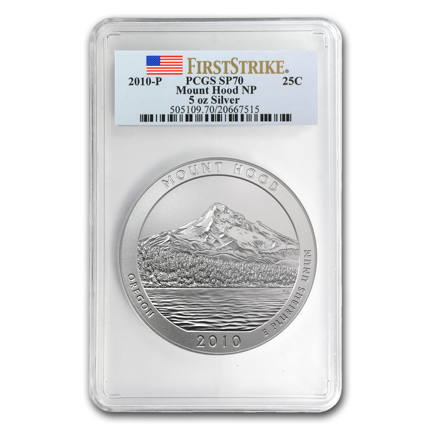 2010-P 5 oz Silver ATB Mount Hood PCGS SP-70 PCGS First Strike