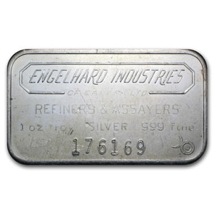 1 oz Silver Bars - Engelhard Industries (Wide/Canada/Smooth/6)