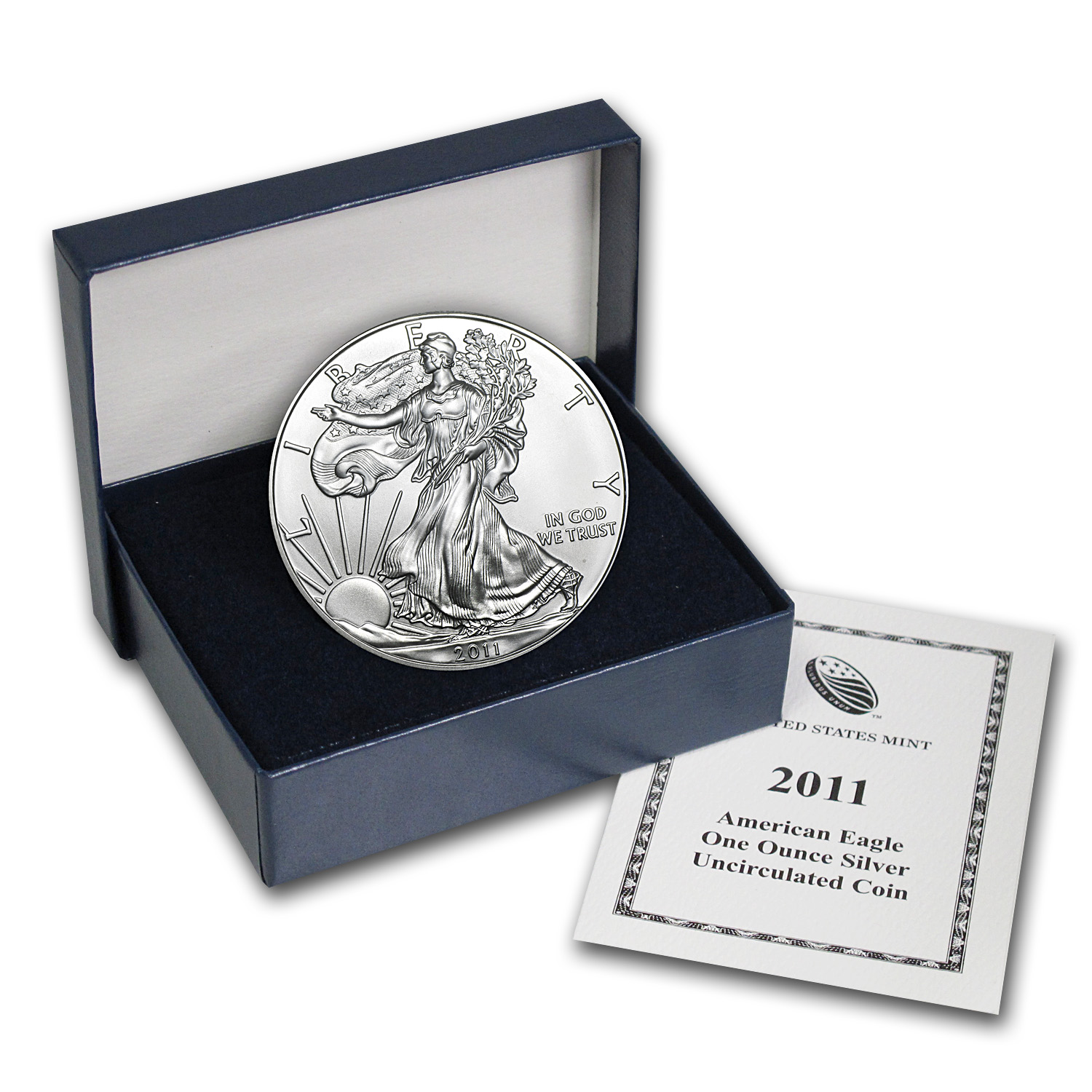 2011-W (Burnished) Silver American Eagle (w/Box & CoA)