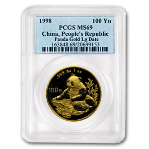 1998 China 1 oz Gold Panda Large Date MS-69 PCGS