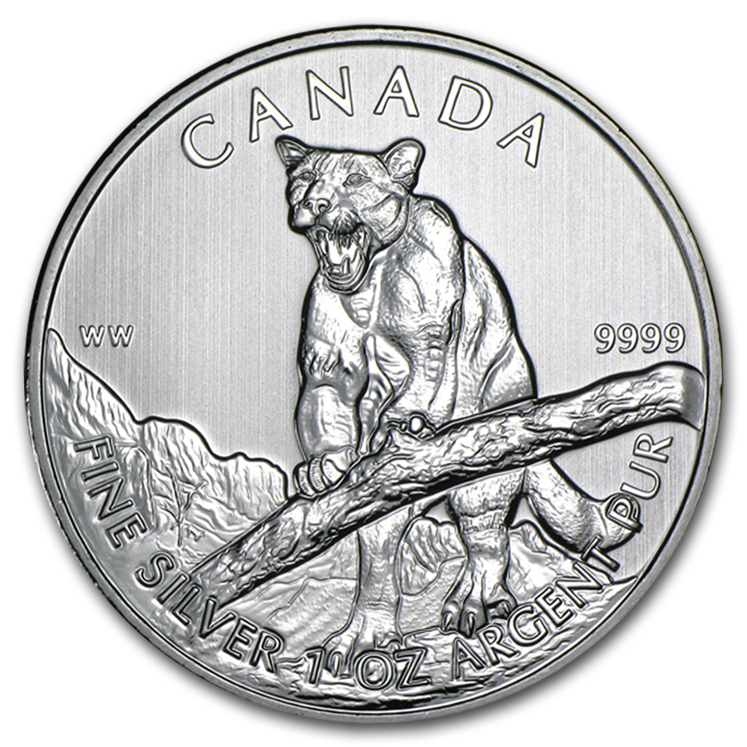 2012 1 oz Silver Canadian Cougar (25-Coin MintDirect® Tube)