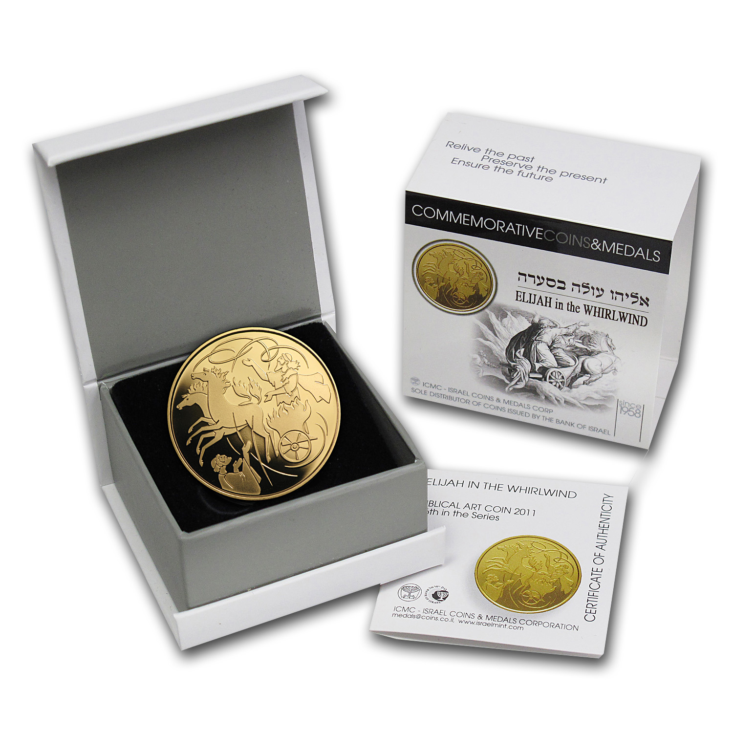 2011 Israel 1/2 oz Proof Gold Elijah & Whirlwind (w/Box & COA)