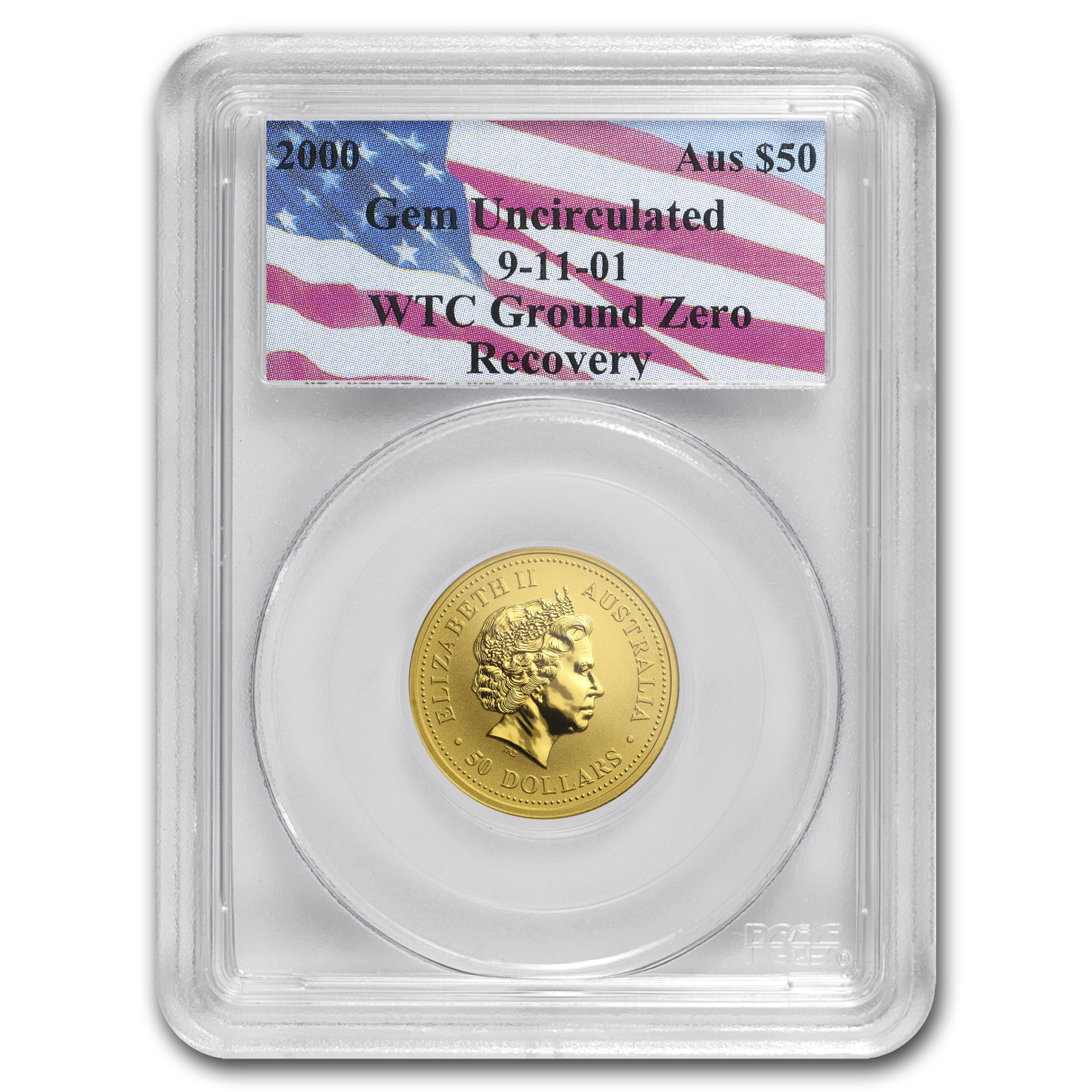 2000 Australia 1/2 oz Gold Nugget Gem Unc PCGS (WTC Ground Zero)