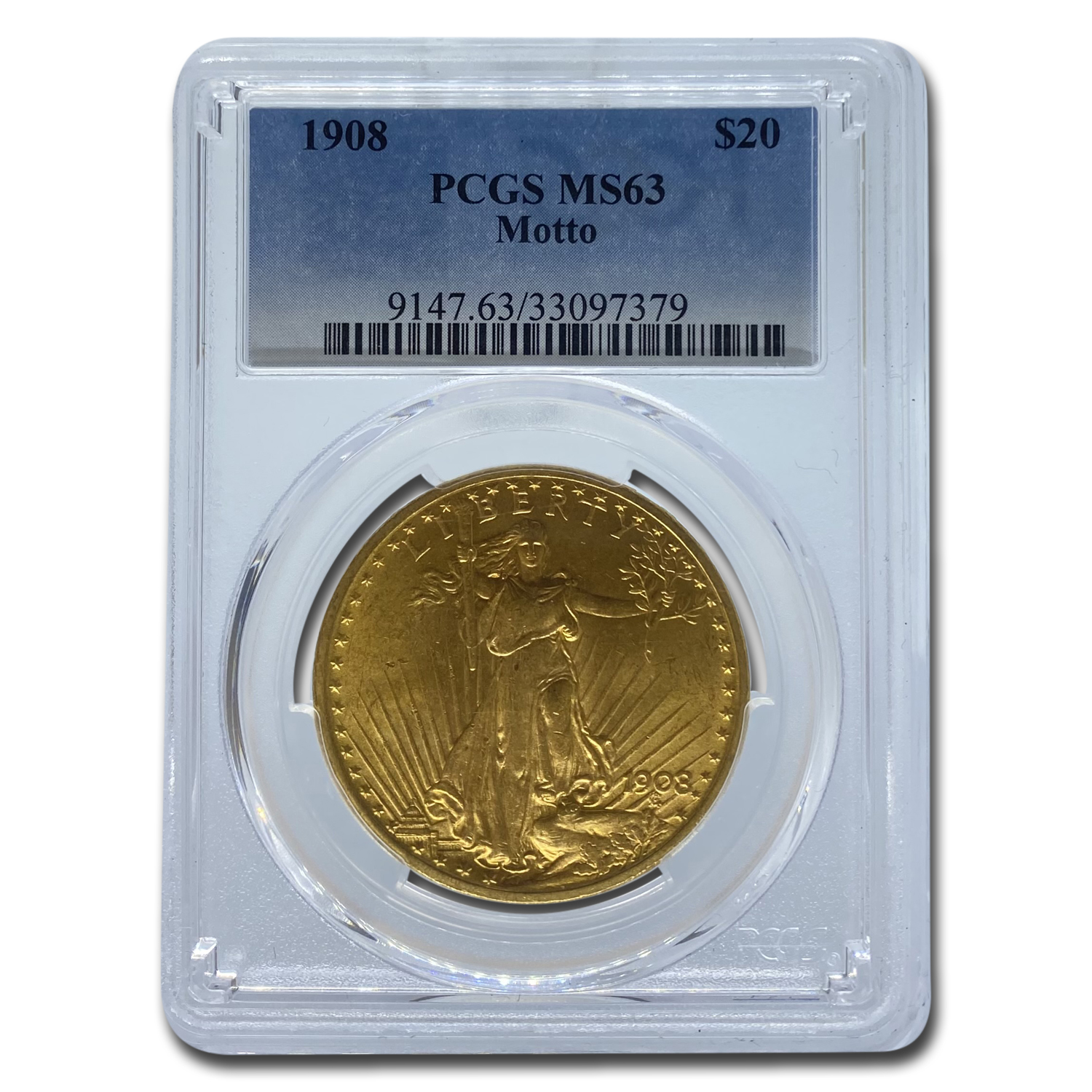 1908 $20 St. Gaudens Gold w/Motto MS-63 PCGS