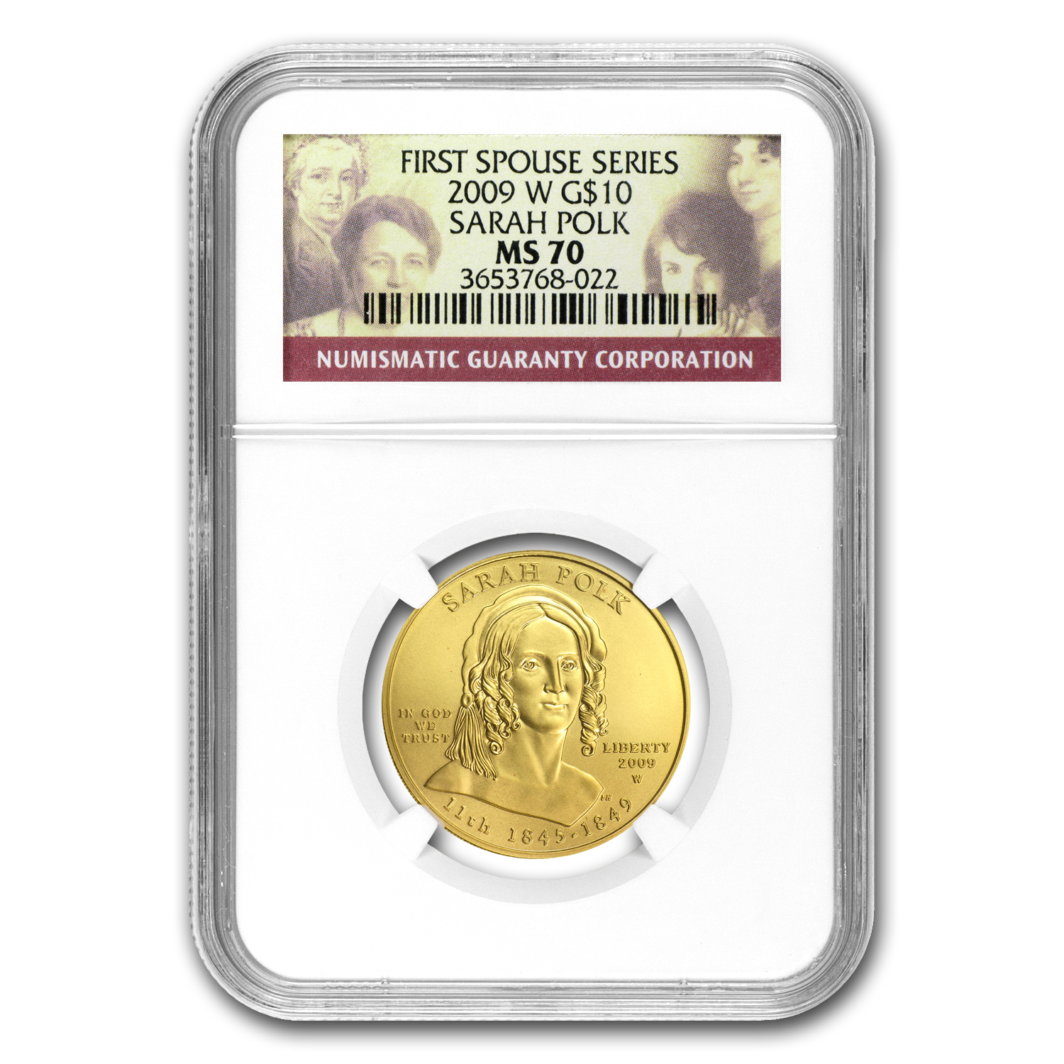 2009-W 1/2 oz Uncirculated Gold Sarah Polk MS-70 NGC