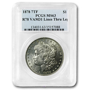 1878 Morgan Dollar 7/0 TF MS-63 PCGS (VAM-31, Lines Thru Leg)