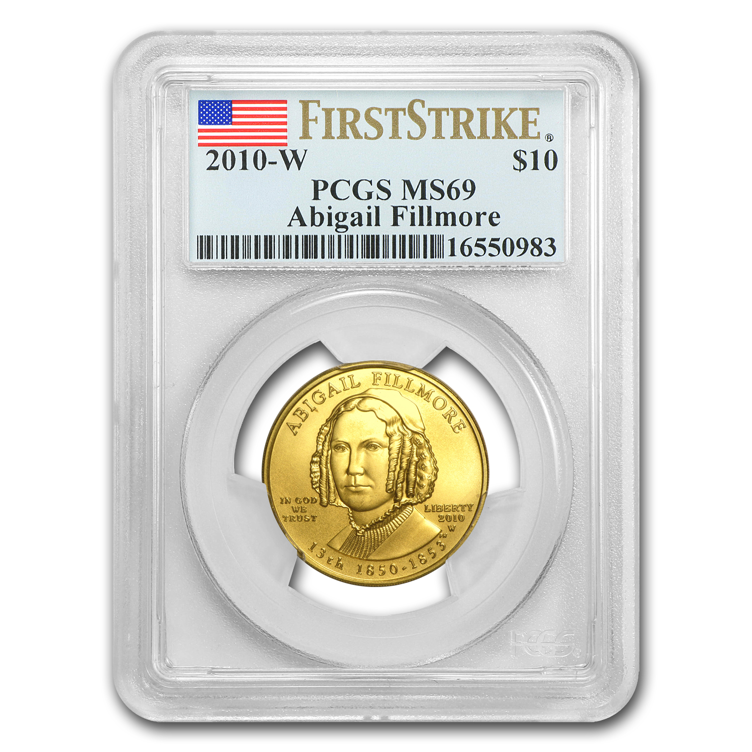 2010-W 1/2 oz Gold Abigail Fillmore MS-69 PCGS (First Strike)