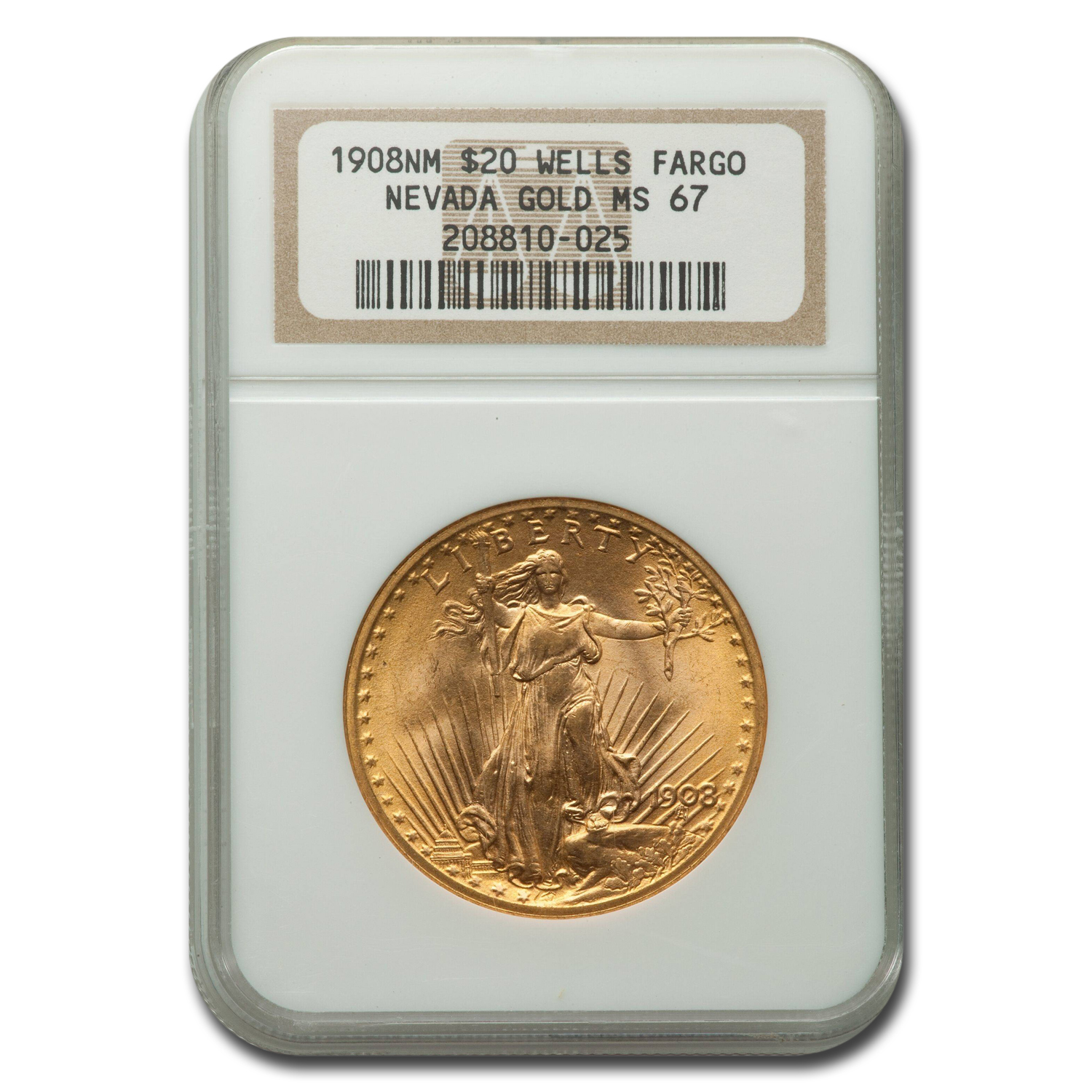 1908 $20 St. Gaudens Gold No Motto MS-67 NGC (Wells Fargo)