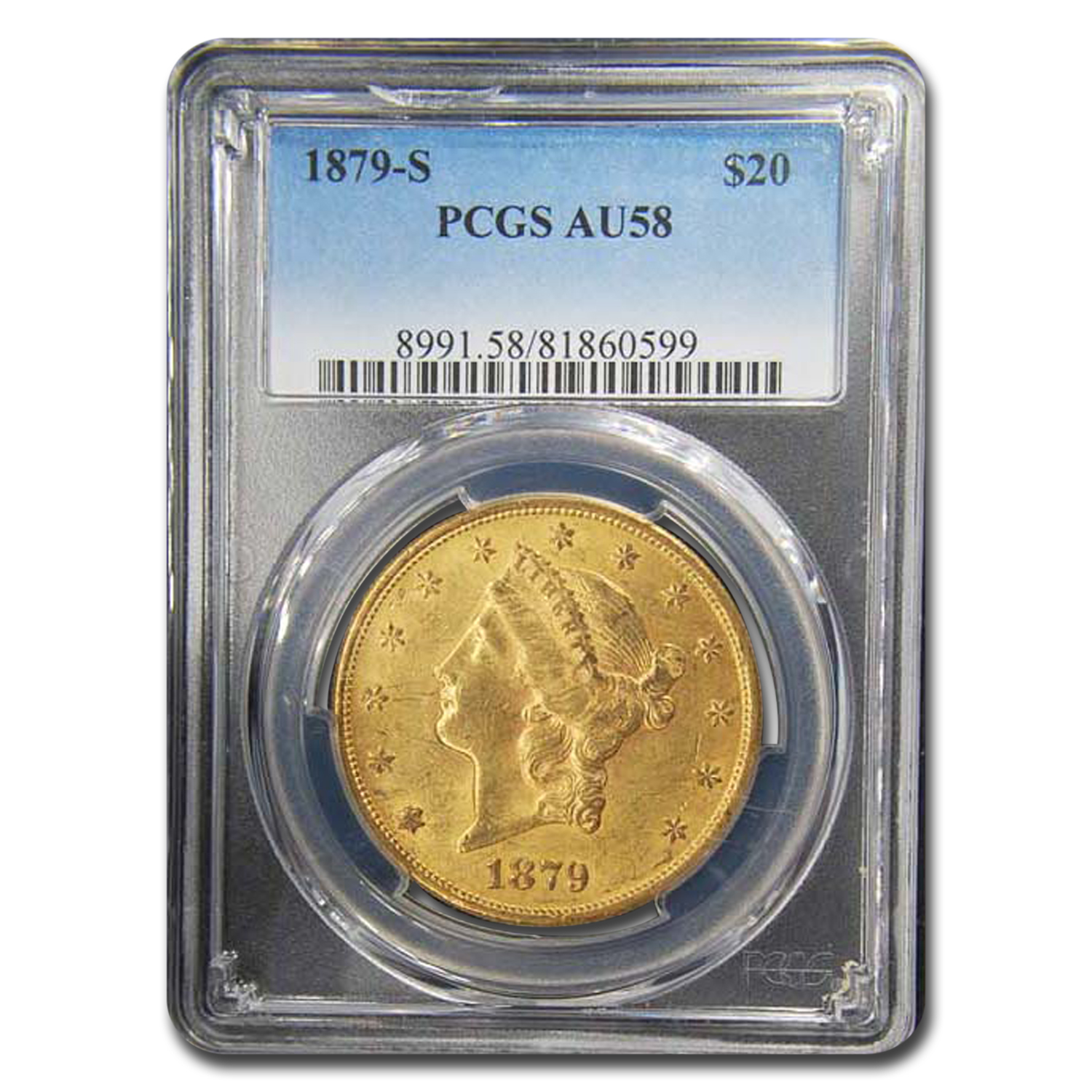 1879-S $20 Liberty Gold Double Eagle AU-58 PCGS