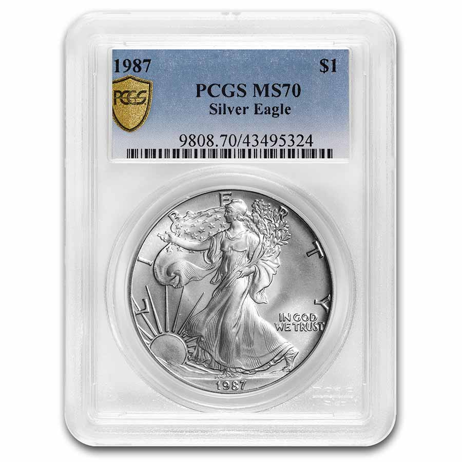 1987 Silver American Eagle MS-70 PCGS (Registry Set)