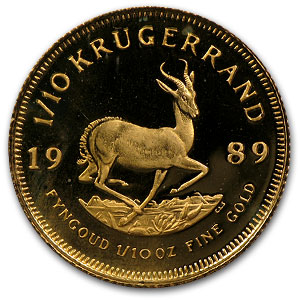 1989 South Africa 1/10 oz Proof Gold Krugerrand