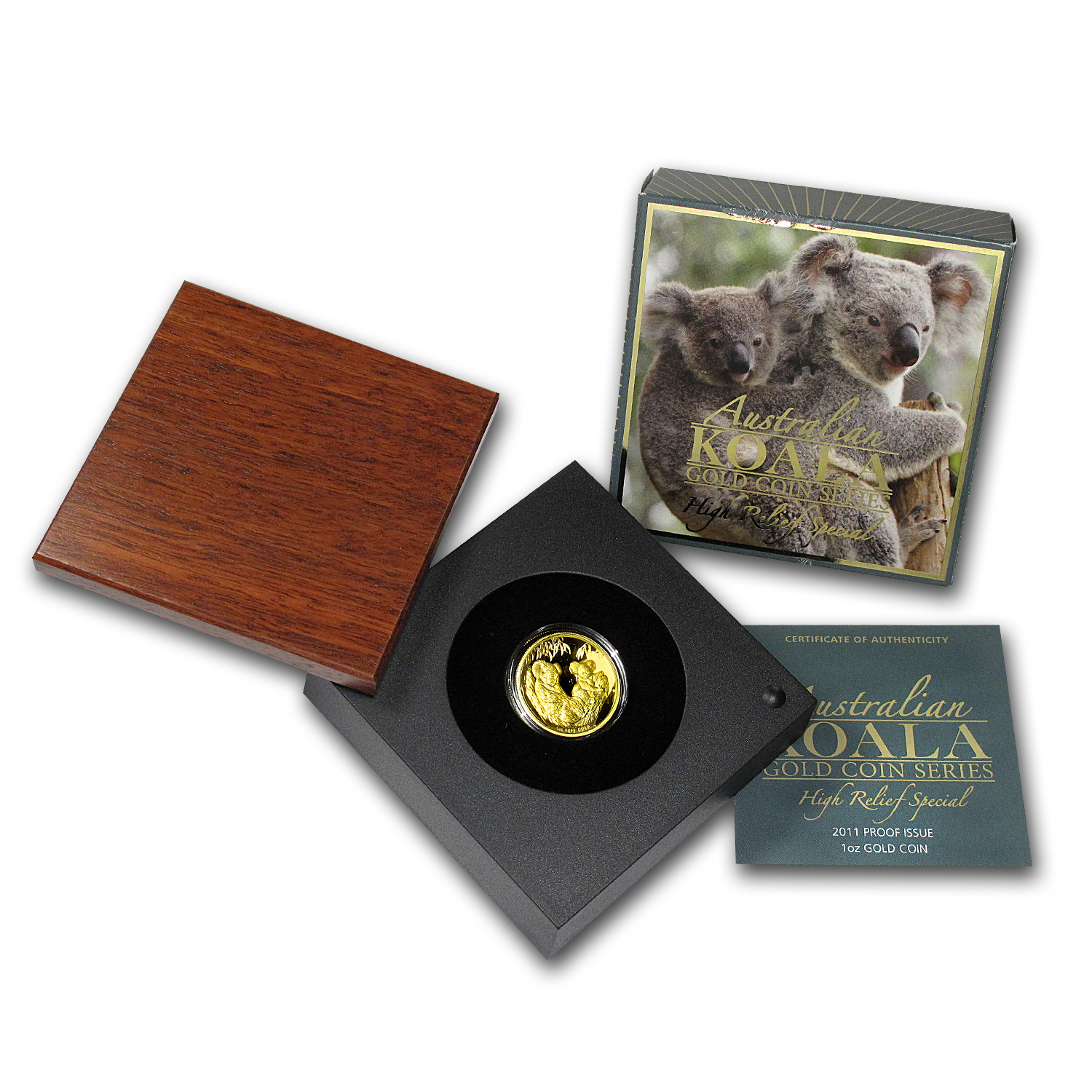2011-P 1 oz Australian Gold Koala Proof (High Relief, Box & COA)
