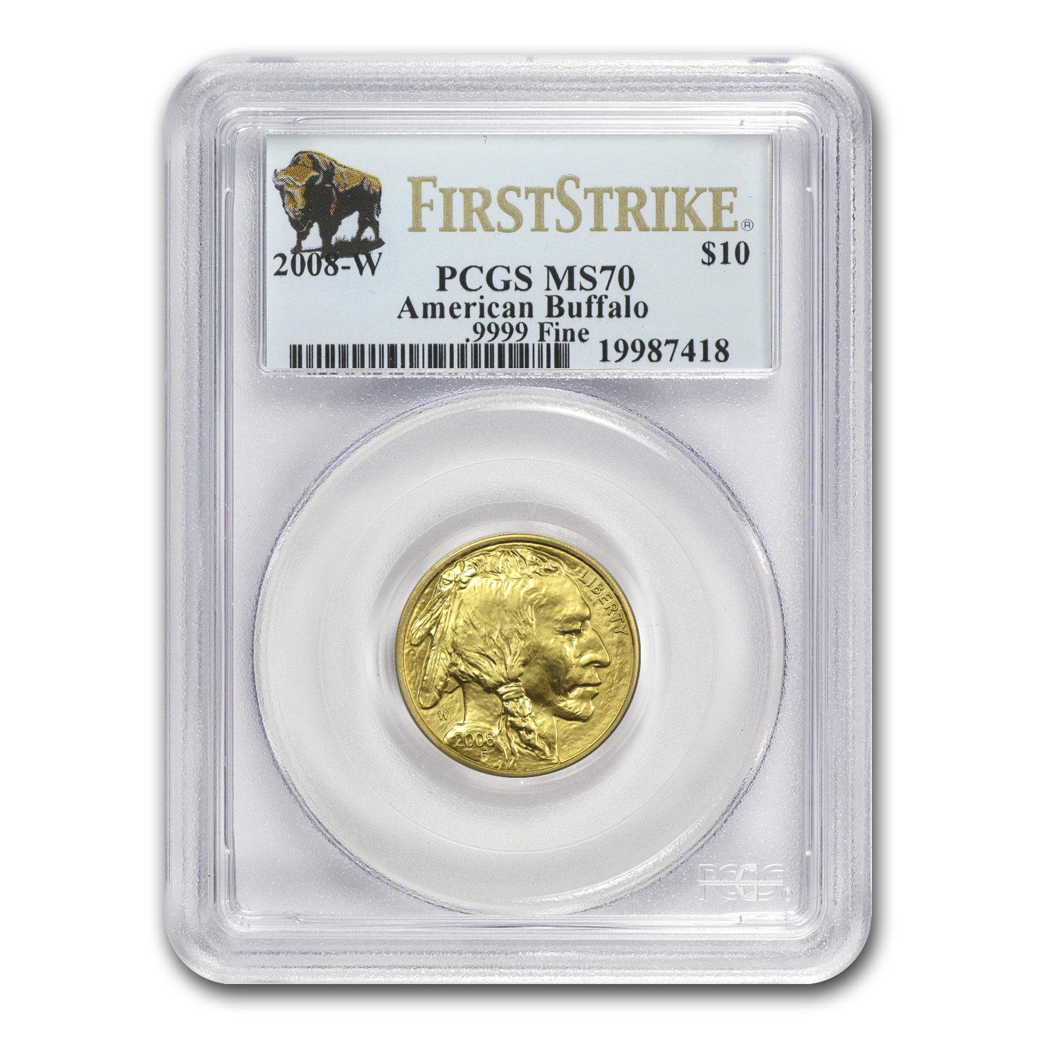 2008-W 1/4 oz Gold Buffalo MS-70 PCGS (FS, Registry Set)