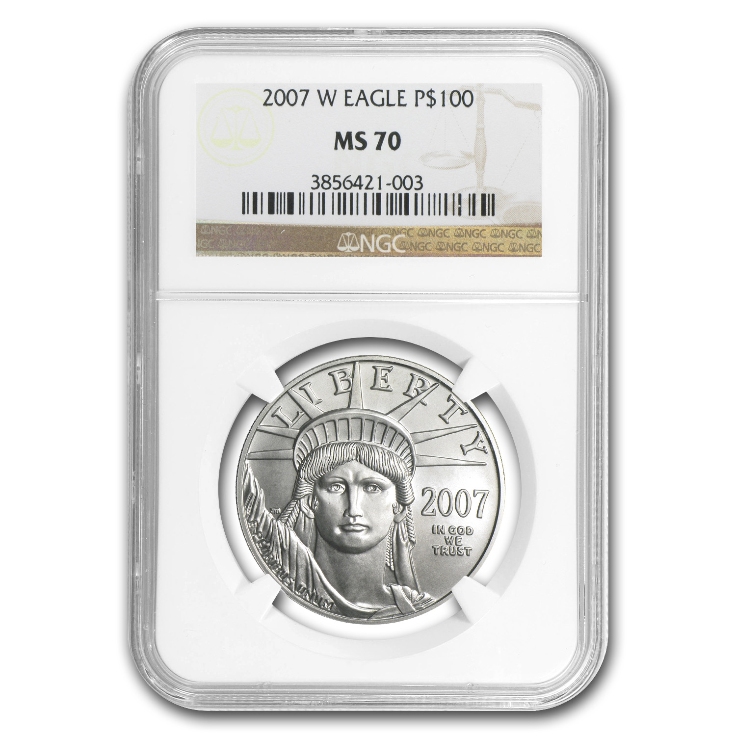 2007-W 1 oz Burnished Platinum American Eagle MS-70 NGC