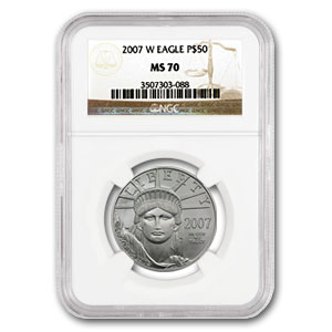 2007-W 1/2 oz Burnished Platinum American Eagle MS-70 NGC