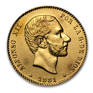 1881 Spain Gold 25 Pesetas Alfonso XII