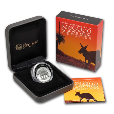 2011 Australia 1 Oz Silver Kangaroo Proof High Relief