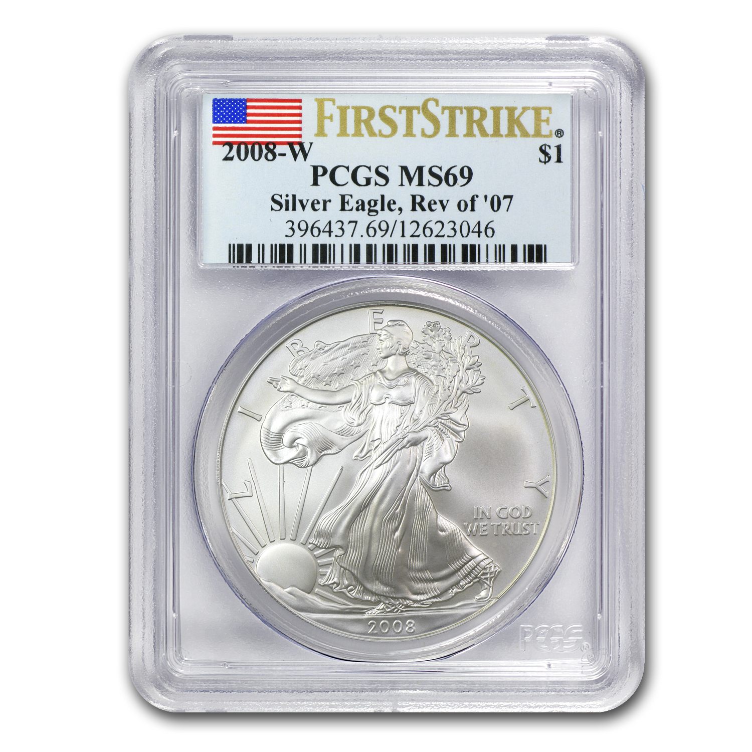 2008-W Burnished Silver American Eagle MS-69 PCGS (FS, Rev '07)