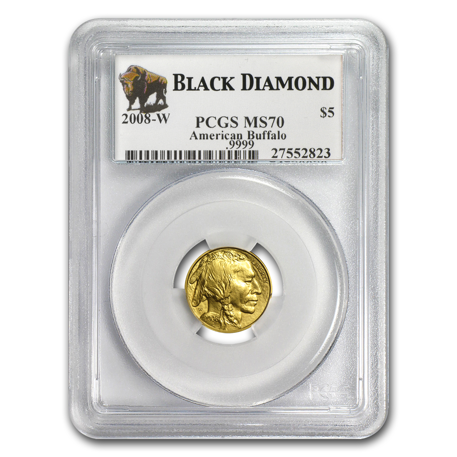2008-W 1/10 oz Gold Buffalo SP/MS-70 PCGS (Black Diamond)
